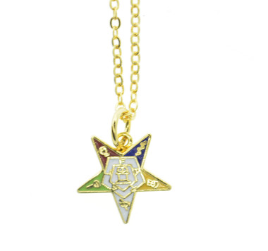OES Dangling Pendant with Order of the Eastern Star Symbolism - Includes Chain Necklace OES_Star_Gold_Dangler_Necklace