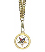 OES Round Gold Color Rimmed Classic Style Pendant with Order of the Eastern Star Symbolism - Includes Chain Necklace