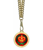 Amaranth OES Masonic Round Gold Color Rimmed Classic Style Pendant with Classic Symbolism - Includes Chain Necklace