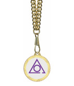 Circle of Perfection Masonic Round Gold Color Rimmed Classic Style Pendant with Standard Symbolism - Includes Chain Necklace