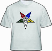 OES T-Shirt (White) For Order of the Eastern Star - Solo Colorful Star Logo. Masonic Clothing and Apparel.