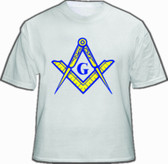 White Masonic T-Shirt For Freemasons - Blue and Yellow Masonic Compass and Square Alone. Masonic Apparel, Merchandise and gifts.