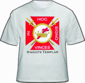 White Knights of Templar T-Shirt For Freemasons - Red Cross In Hoc Signo Centered Logo. Masonic Clothing and Apparel.