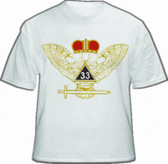 Masonic Scottish Rite T-Shirt (White) For 33rd Degree Freemasons - Multi Colored Wings UP Crowned Double Headed Eagle Design. Masonic Merchandise.