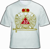 Scottish Rite T-Shirt (White) Masonic 33rd Degree Freemasons - Multi Colored Wings Down Crowned Double Headed Eagle Design. Masonic Merchandise.