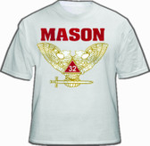 Masonic Shirt - Scottish Rite (White) 32nd Degree Freemasons. Colored Wings UP Double Headed Eagle Design w/ Bold Mason Text. Masonic Clothing and Apparel.