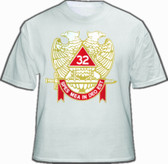 Masonic Shirt - Scottish Rite T-Shirt (White) For 32nd Degree Freemasons - Multi Colored Wings DOWN Double Headed Eagle Design with Banner and Sword. Masonic Clothing and Apparel.