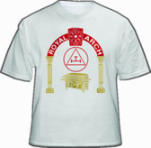 Masonic Royal Arch White T-Shirt For Freemasons - Standard Red logo Triple Tau with pillars design. Masonic Merchandise and gifts.