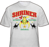 Masonic Shriners T-Shirt (White) For Freemasons - Multi Colored Design with text Authentic, Traditional, Original and shadow camel riders. Masonic Merchandise and gifts.