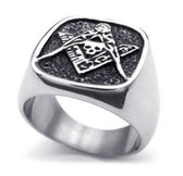 Freemason Ring - Masonic Skull Emblem with Masonic Symbolism of Square and Compass Mason's Ring - Stainless Steel Jewelry