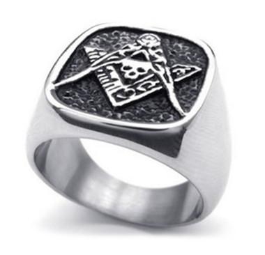 Freemason Ring - Masonic Skull Emblem with Masonic Symbolism of Square and Compass Mason's Ring - Stainless Steel Jewelry