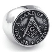 Freemason Ring / Masonic Rings Cheap - Steel Band - We are a band of brothers - Freemasonry Coin Style Design