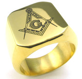 Freemason Ring / Masonic Ring for sale - Gold Plated 316L Stainless Steel Band for Masons
