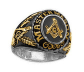 Duo Tone Gold and Steel Color Freemason College Style Masonic Ring - with classic center design and etched symbols. Masonic Jewelry. Masonic rings for sale.