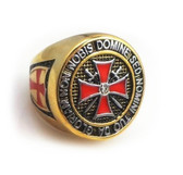 Colorful Gold Plated Steel Knights of Templar Red Cross Freemason Ring - with cross center design and etched symbols