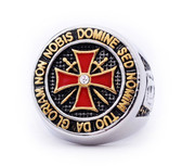 Colorful Stainless Steel Knights of Templar Red Cross Freemason Ring - with cross center design and etched symbols