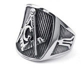Freemason Ring / Masonic Rings for sale - Steel Color - Pinstripe Design with Square and Compass Mason Symbol