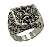 **Silver Color Stainless Steel - 33rd Degree Scottish Rite Freemason Ring / Masonic Ring - Coat of Arms - Chiseled Double Headed Eagle Design