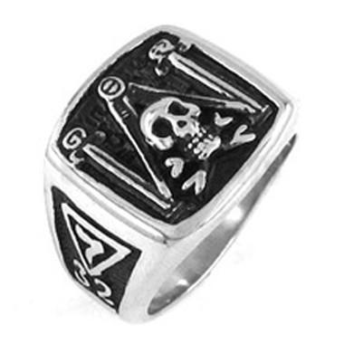 Scottish Rite 32nd Degree Masonic Skull Emblem with Pillars, Square and Compass Freemason Ring / Mason's Ring - Stainless Steel Jewelry