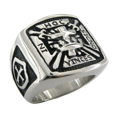 In Hoc Signo Vinces - The Knights of Templar Freemason Ring with Cross and Shields on sides. Stainless Steel Masonic Rings for sale with Carved Design