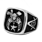 Masonic Shriner Star Emblem with Square and Compass Freemason Ring / Mason's Ring - Stainless Steel. Masonic rings for sale.