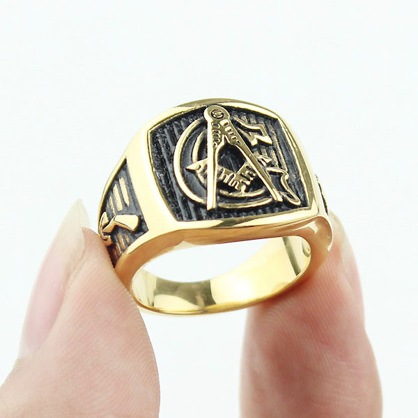 Masonic rings ebay Freemason Ring Gold Plated Steel G Masonic