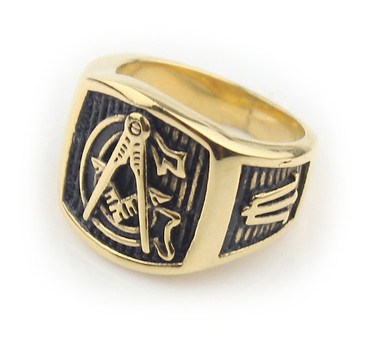 Freemason Ring / Mason Ring - Gold Plated Steel G Masonic Ring Emblem on Pinstripes - Masonic Rings for Sale