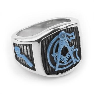 Blue Lodge - Color Enamel Steel Freemason Ring / Mason Ring Cheap - G Masonic Ring Emblem on Pinstripes