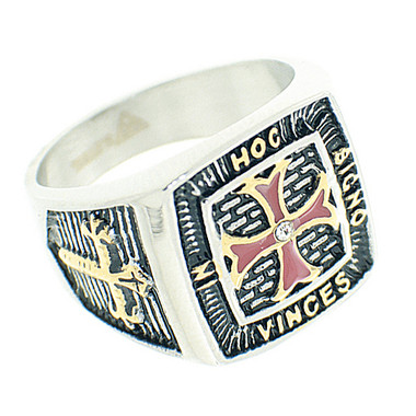 Knights of Templar Ring - Red Cross Center - In Hoc Signo Vinces - Duo Tone Colorful Steel Ring with Red Cross - Masonic / Free Mason Ring