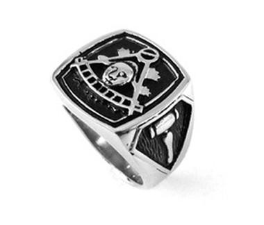 Masonic Past Master Emblem with Gavels on sides - Freemason Ring / Mason's Ring - Stainless Steel Jewelry for Freemasons