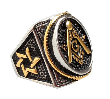 Duo-tone Masonic Jewish Star of David Stainless Steel w/ Gold and Silver color plating - Freemason Ring Classic Style Judaism Emblem. Masonic Jewelry