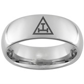 Royal Arch masonic Ring tungsten Steel Band for Freemasons with solo Triple Tau Classic Icon