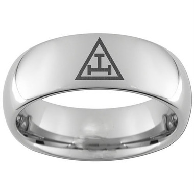 Royal Arch Tungsten Steel Ring Band for Freemasons with solo Triple Tau Classic Icon