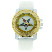 Order of the Eastern Star Watch - Gold Tone and White Silicone Band - OES Symbol - White CZ Bling Face Dial Watch