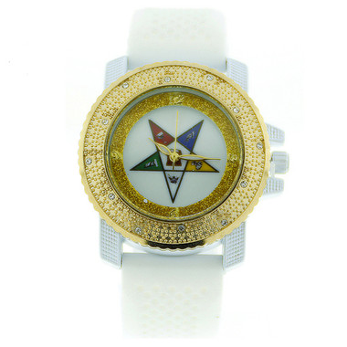 Image of Order of the Eastern Star Watch - Gold Tone and White Silicone Band - OES Symbol - White CZ Bling Face Dial Watch