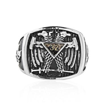 Scottish Rite Freemason Ring / Mason Ring Stainless Steel Scottish Rite 32nd Degree Masonic Double Headed Eagle with sword, stripes and Grand Elect logos. Masonic Jewelry.