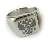 Flat Ring Silver Color Stainless Steel Scottish Rite Freemason Ring / Masonic Ring - Coat of Arms - Etched Double Headed Eagle Design