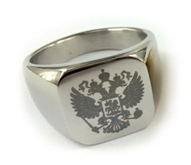 Flat Ring Silver Color Stainless Steel - 33rd Degree Scottish Rite Freemason Ring / Masonic Ring - Coat of Arms - Etched Double Headed Eagle Design