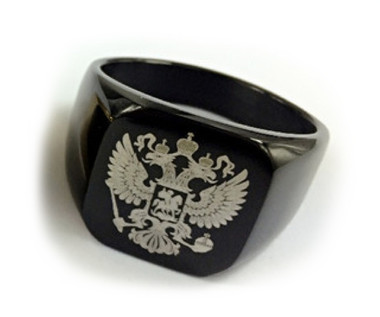 Flat Ring Black Color Stainless Steel - 33rd Degree Scottish Rite Freemason Ring / Masonic Ring - Coat of Arms - Etched Double Headed Eagle Design