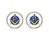 Masonic Glass Earrings with Masonic Symbol on Blue Seal / Free Mason (one pair)