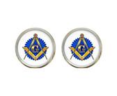 Masonic Glass Earrings with Masonic Symbol on Blue Seal / Free Mason (one pair)