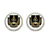 Masonic Glass Brotherly Love Message Symbol Earrings for Freemasons (one pair)