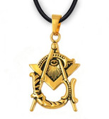 Freemason Pendant - Gold Plated Stainless Steel with Deep Etched Masonic Eye of Providence Symbol inside of Square and Compass