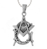 Freemason Pendant - Silver Tone Stainless Steel with Deep Etched Masonic Eye of Providence Symbol inside of Square and Compass