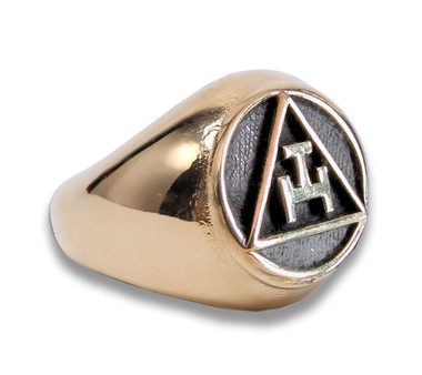 Gold Tone Stainless Steel - Freemason Royal Arch Symbol Ring - Triple Tau Chiseled Face Masonic Rings for sale.