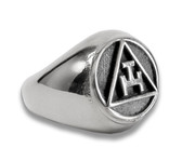 Silver Tone Stainless Steel - Freemason Royal Arch Symbol Ring - Triple Tau Chiseled Face Masonic Rings for sale