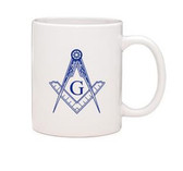 Masonic Gifts - White Ceramic Mug with Square & Compass imprint - 11oz Coffee Mug