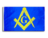 Masonic 3x5 Polyester Flag - With Blue Background and Yellow Freemasons Symbol