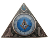 Freemason Gift - Mini Triangle Desk Clock - Masonic Symbolism on front and classic logos on back. Great Masonic gift.
