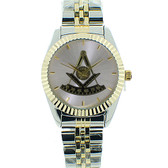 Masonic Past Master's Freemasons Watch - Masonic Symbol on Duo-Tone Gold and Silver Color Steel Band - Freemason Symbol - Silver Shine Face Dial Watches for Free Masons